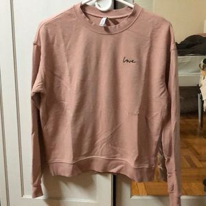 """""""Love"""" embroidered sweatshirt, mauve/pink colored"""